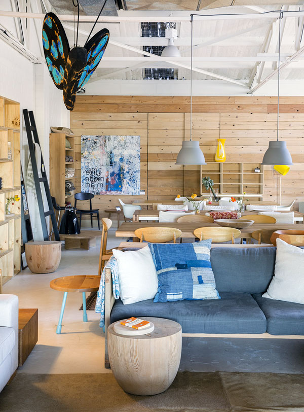 The Newport Showroom of Mark Tuckey. Styling Louella Tuckey. Photo Jason Busch. Stunning tones of Indigo, pendant lighting, solid timber stools and perfect styling by Louella.