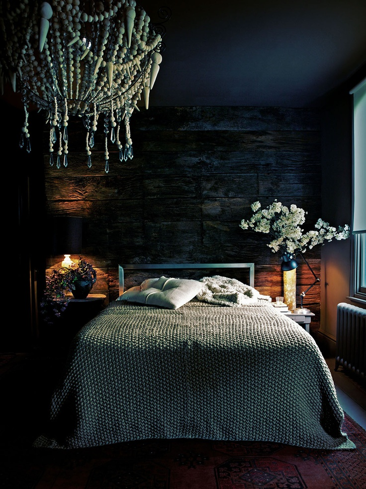 You may recognise this image from one of my older blog posts, but every time I see it I love it even more! This is the stunning bedroom of Interior Designer Abigail Ahern. Layered with gorgeous throws, cushions, flowers and THAT chandelier, not to mention the timber feature wall this room is everything I love about the design style of Abigail Ahern.