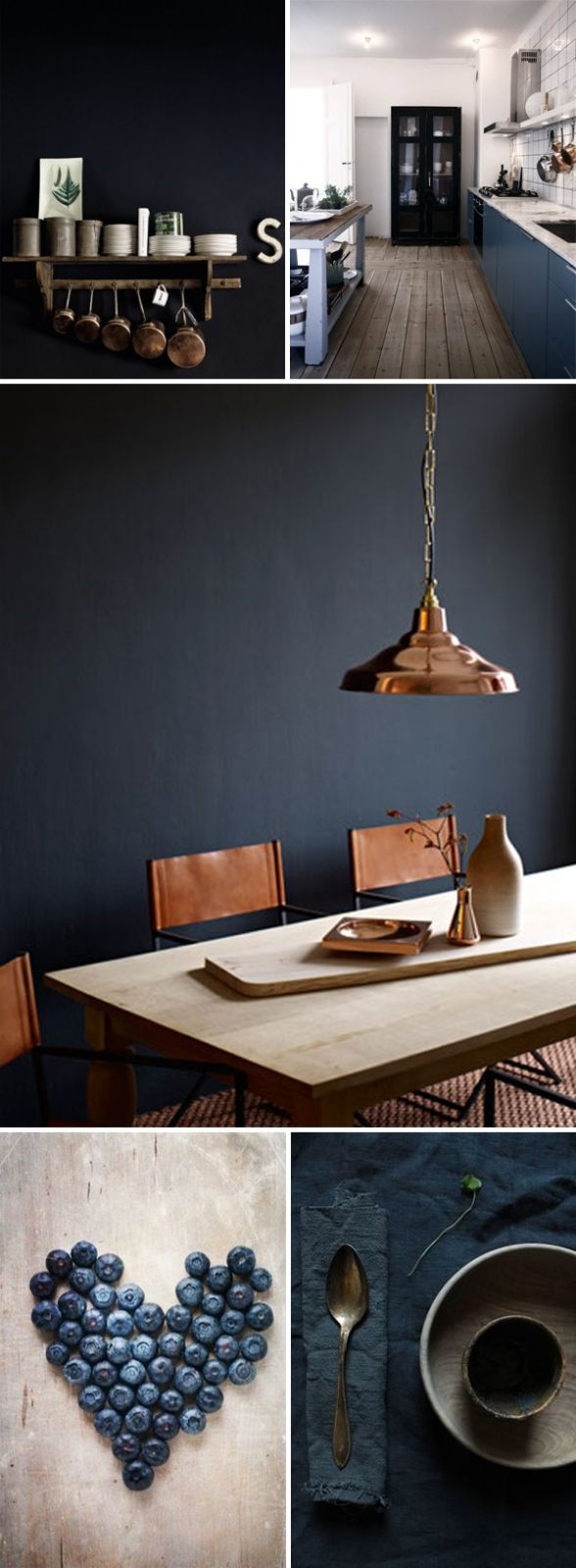 Copper light fixtures, inky hues, dark cabinetry and charcoal feature wall make for a beautifully styles moody interior.