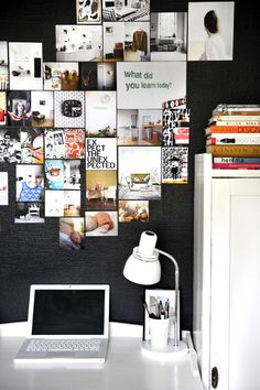 A dark wall featuring inspiration, beautiful images and quotes. Pure simplicity.