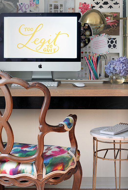 Too legit to quit! I love this space so much it made it to my Bright Eyed & Blog Hearted vision board! A beautifully covered chair, a wall covered with inspiration, and a cute copped legged stool.