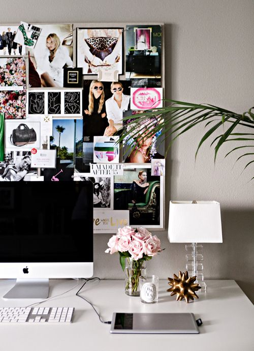 This office space is perfection. iMac, Roses, sweet scented candle and the Olsen twins. Bliss!