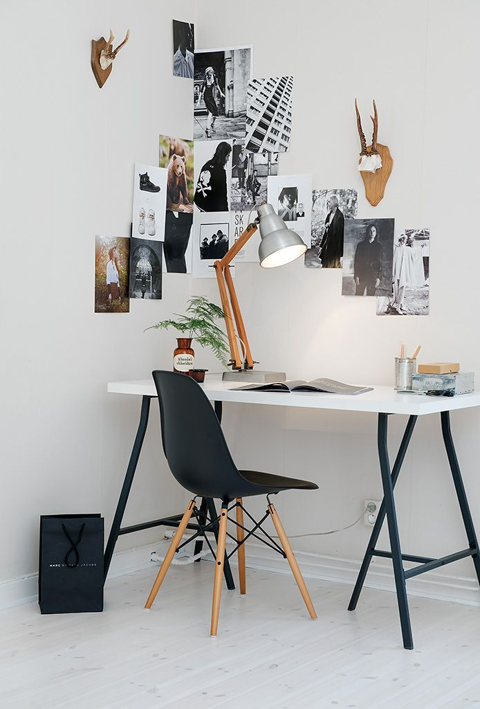 This space shows you don't need a lot of space or a huge room to create a beautifully styled office space. A small desk in the corner and your favourite images on the wall is all you need!