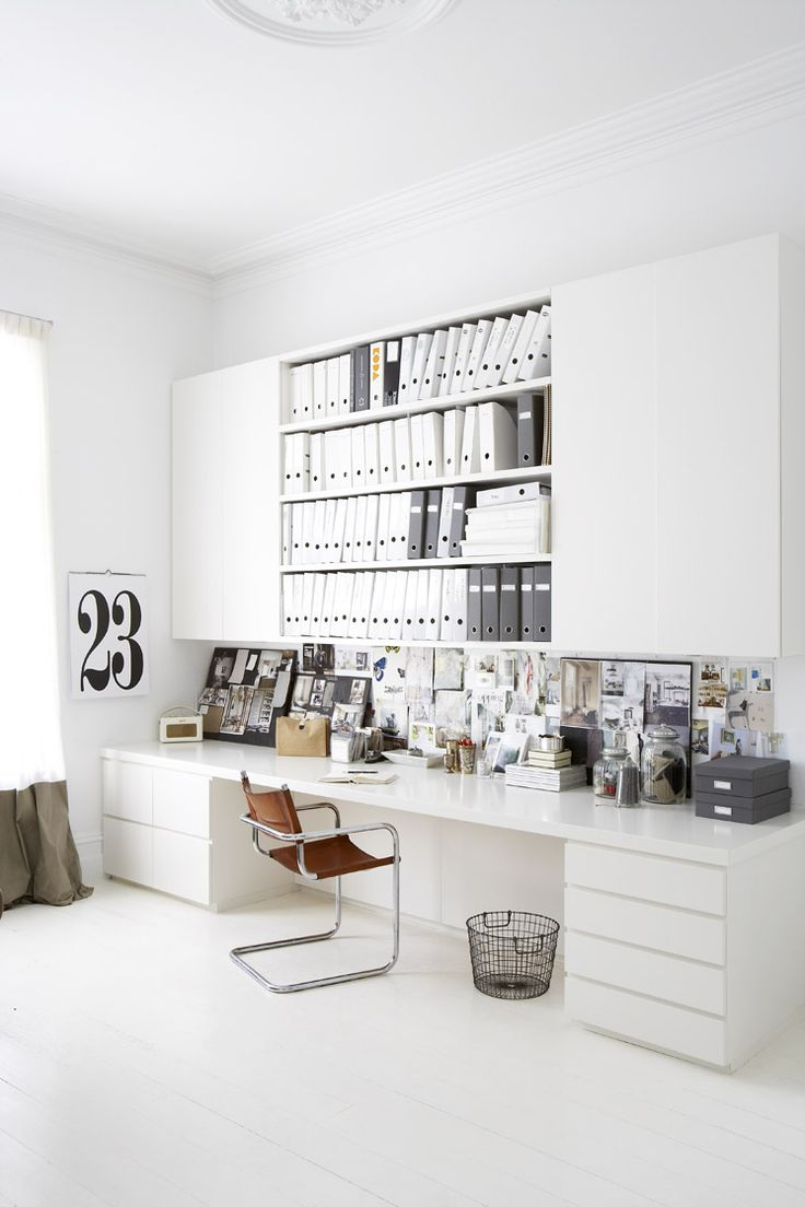 This perfectly organised and design office space belongs to Justine Hugh-Jones Design as seen in Est Magazine
