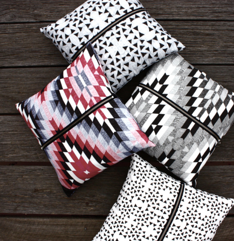 Cushions. Mixed patterns, colours & texture with metallic zippers. Shop them  here!