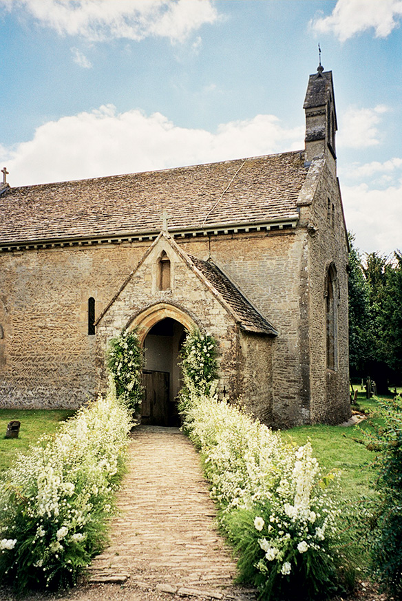 A path leading to the twelfth-century village church where the ceremony took place.