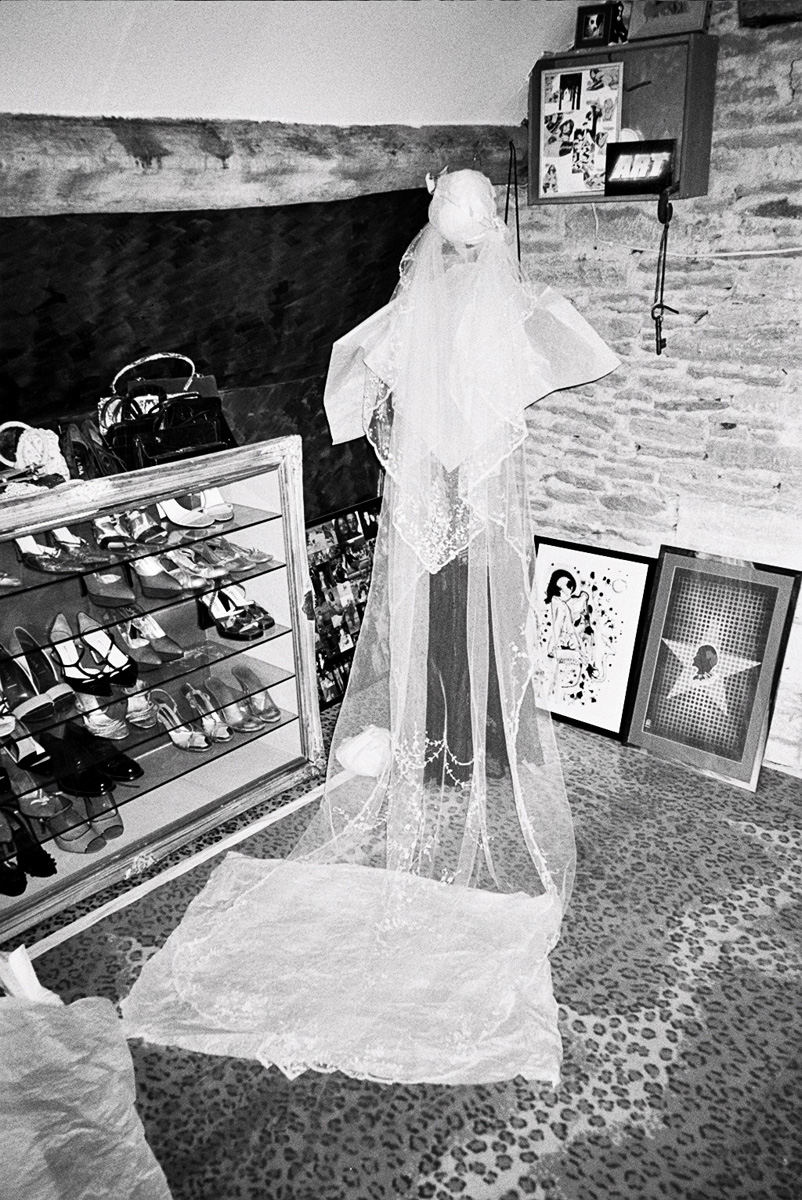 Kate's wedding veil in her boudoir.