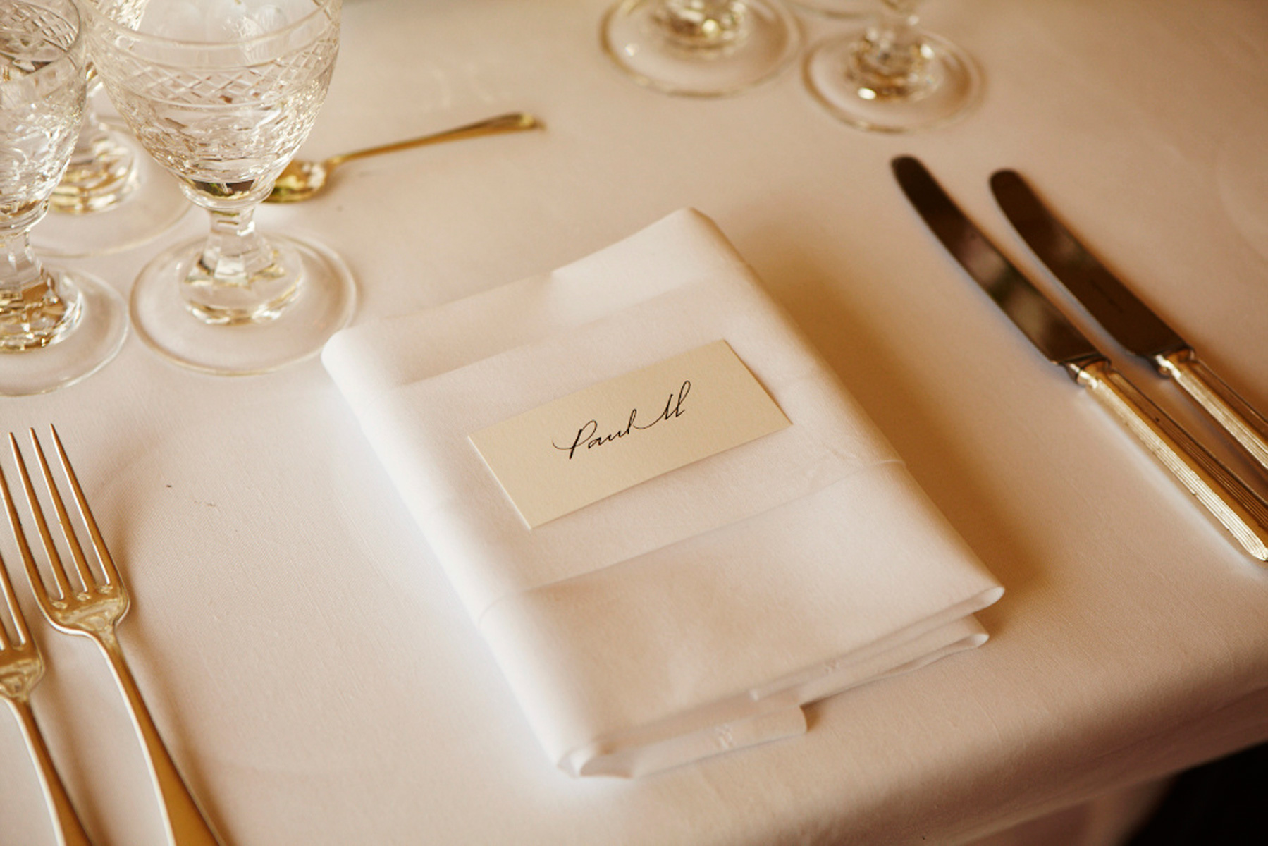 Place settings were marked with beautiful calligraphy. Simple, yet stylish and timeless.