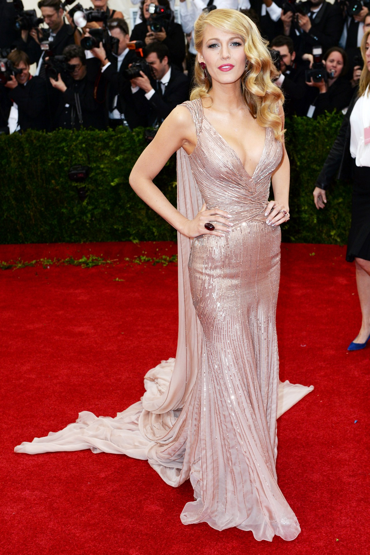 Blake Lively wore a custom-made Gucci Première gown.