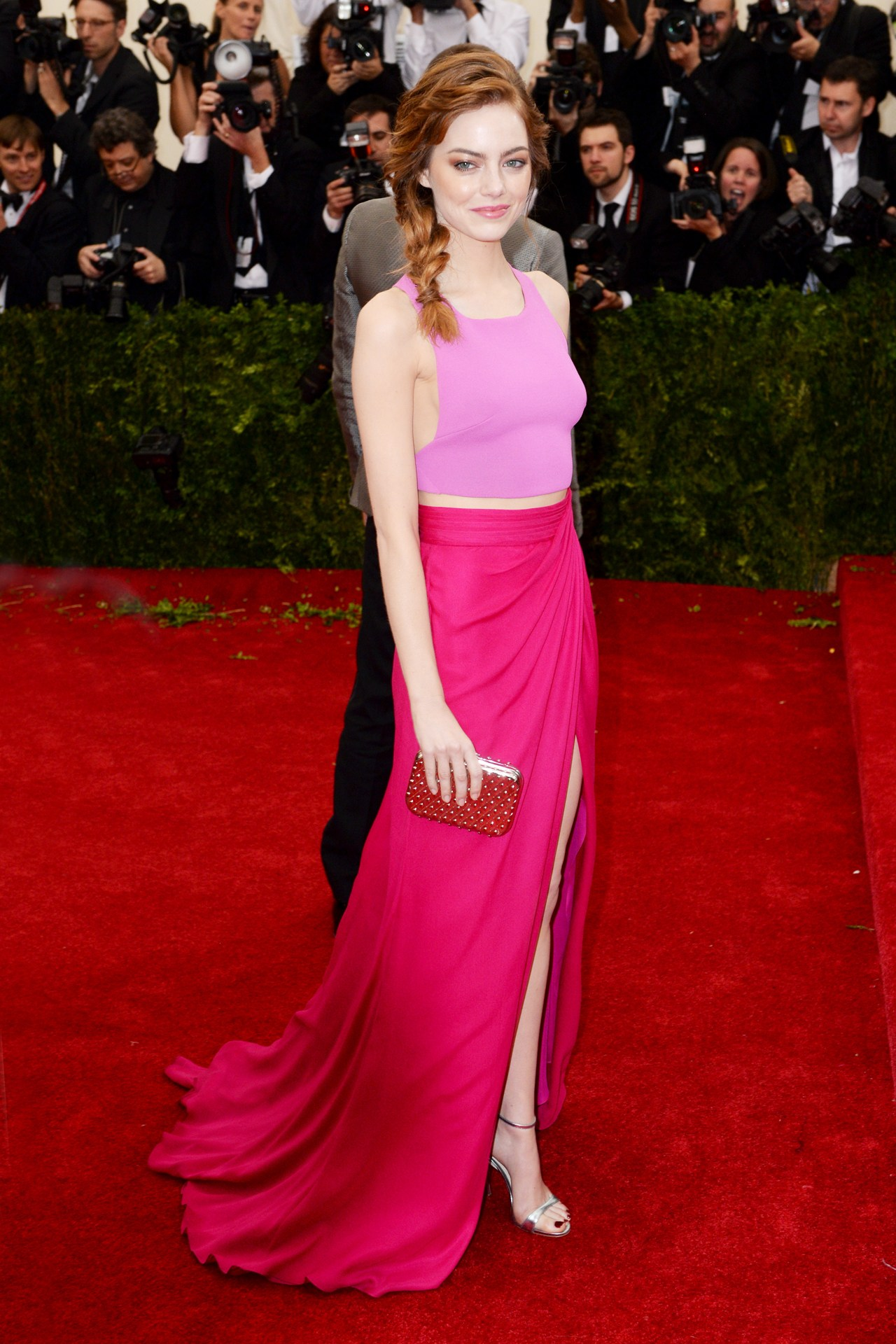 Emma Stone wore a custom-made top and skirt by Thakoon