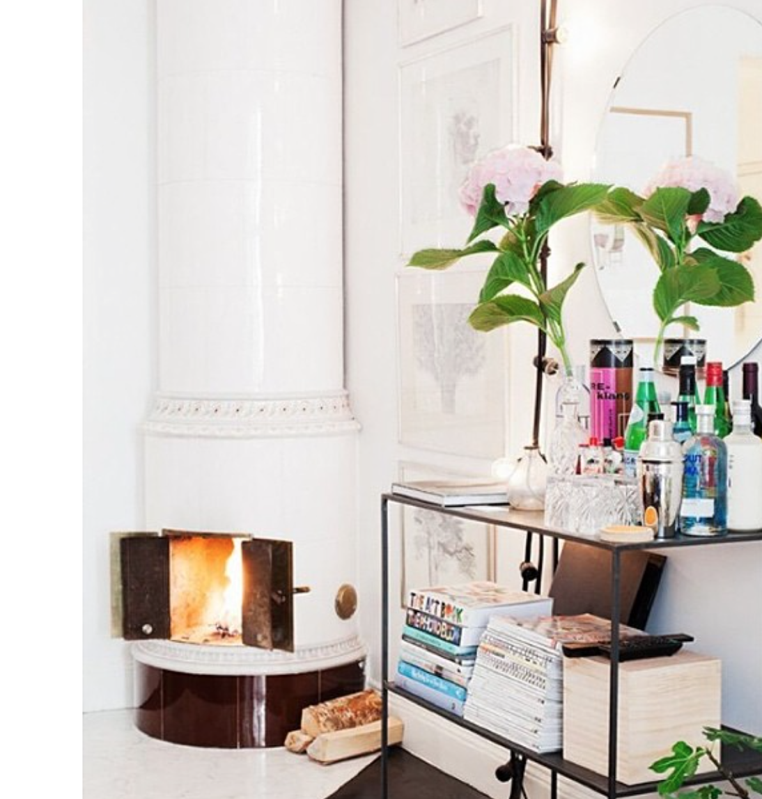 On The Blog : Bart Cart Style. Love this simply styled cart in perfect position next to the open fireplace.  Read the full post  here!  Image: Pinterest