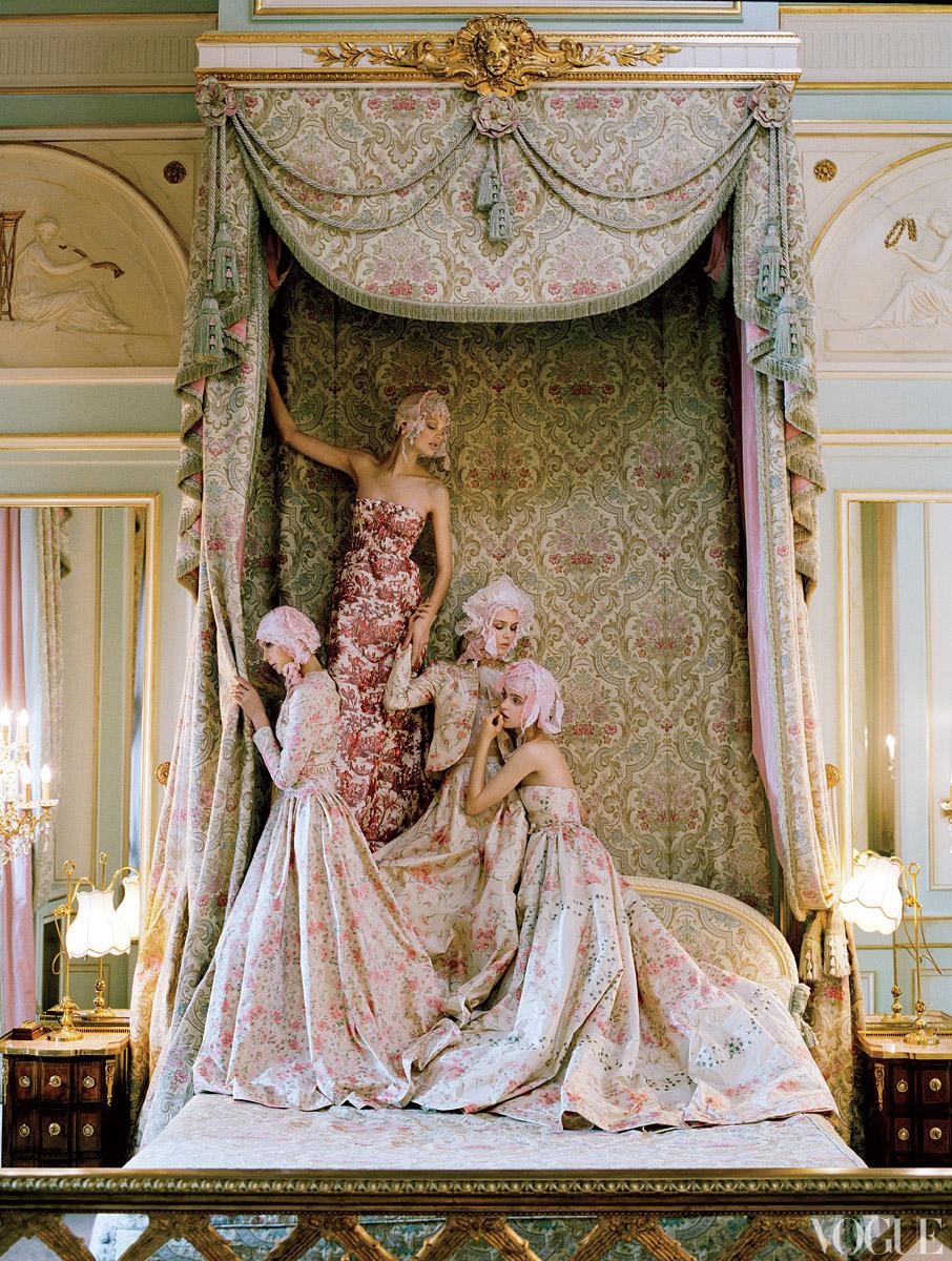 Valentino Haute Couture taffeta dresses. Lace headpieces created by Julien d'Ys, using Mokuba ribbon.