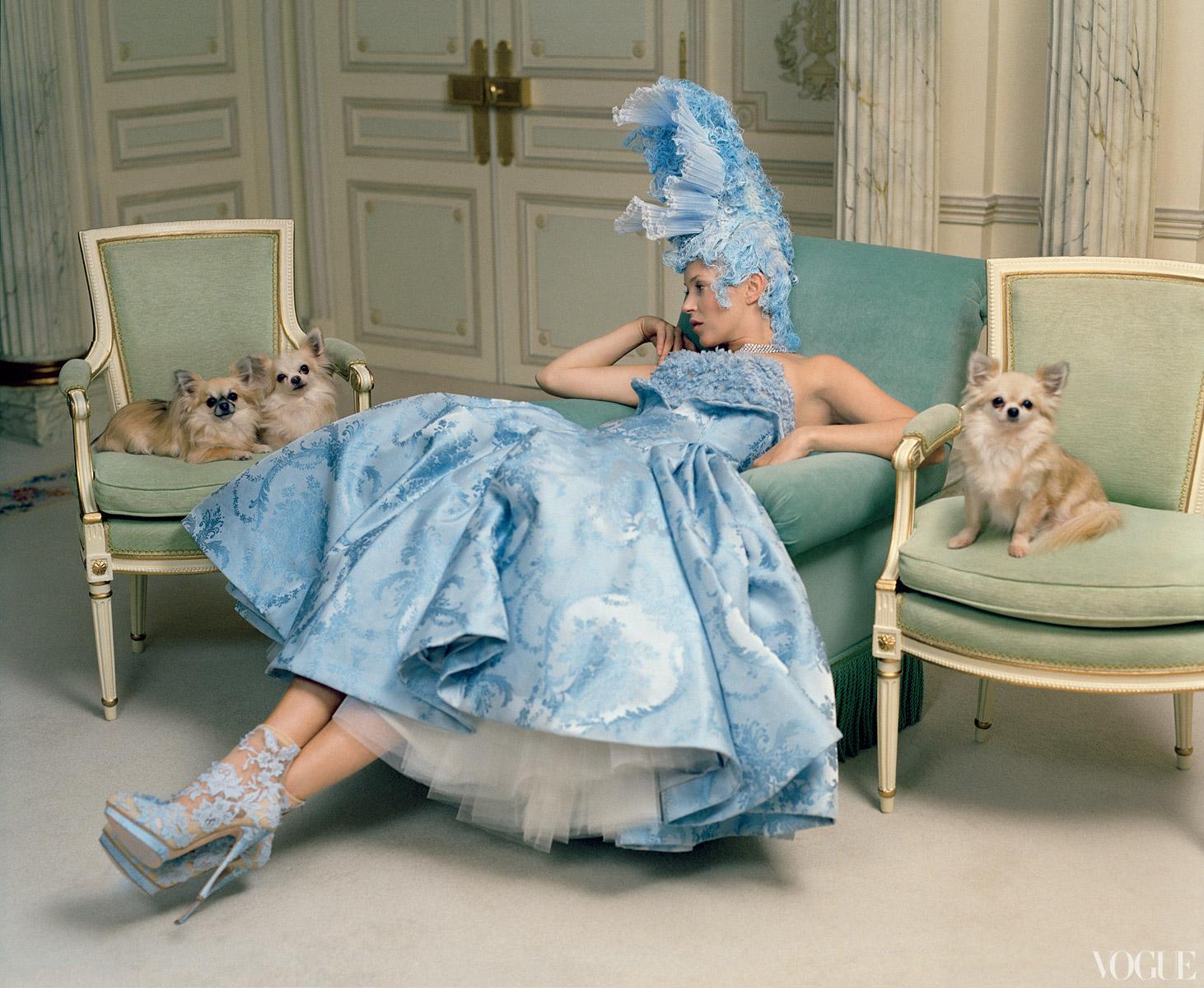 A cornflower-blue dress by Sarah Burton for Alexander McQueen. Lace shoe perfection!