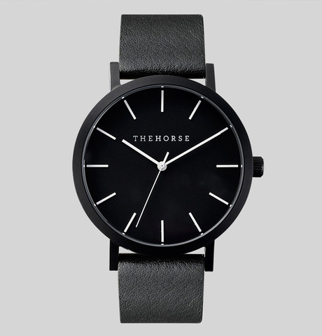 Ahhh, beautiful simplicity. I love this Matt Black & Black Leather Watch from  The Horse .