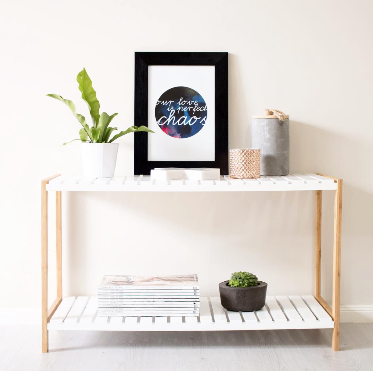 Product Styling & Photography  Artwork -  The Little Things Design  Concrete Planter -  Bayko Homewares  Stand -  Mocka Australia  Concrete Canister -  Pillow Talk  Copper Candle - Ara & Co.