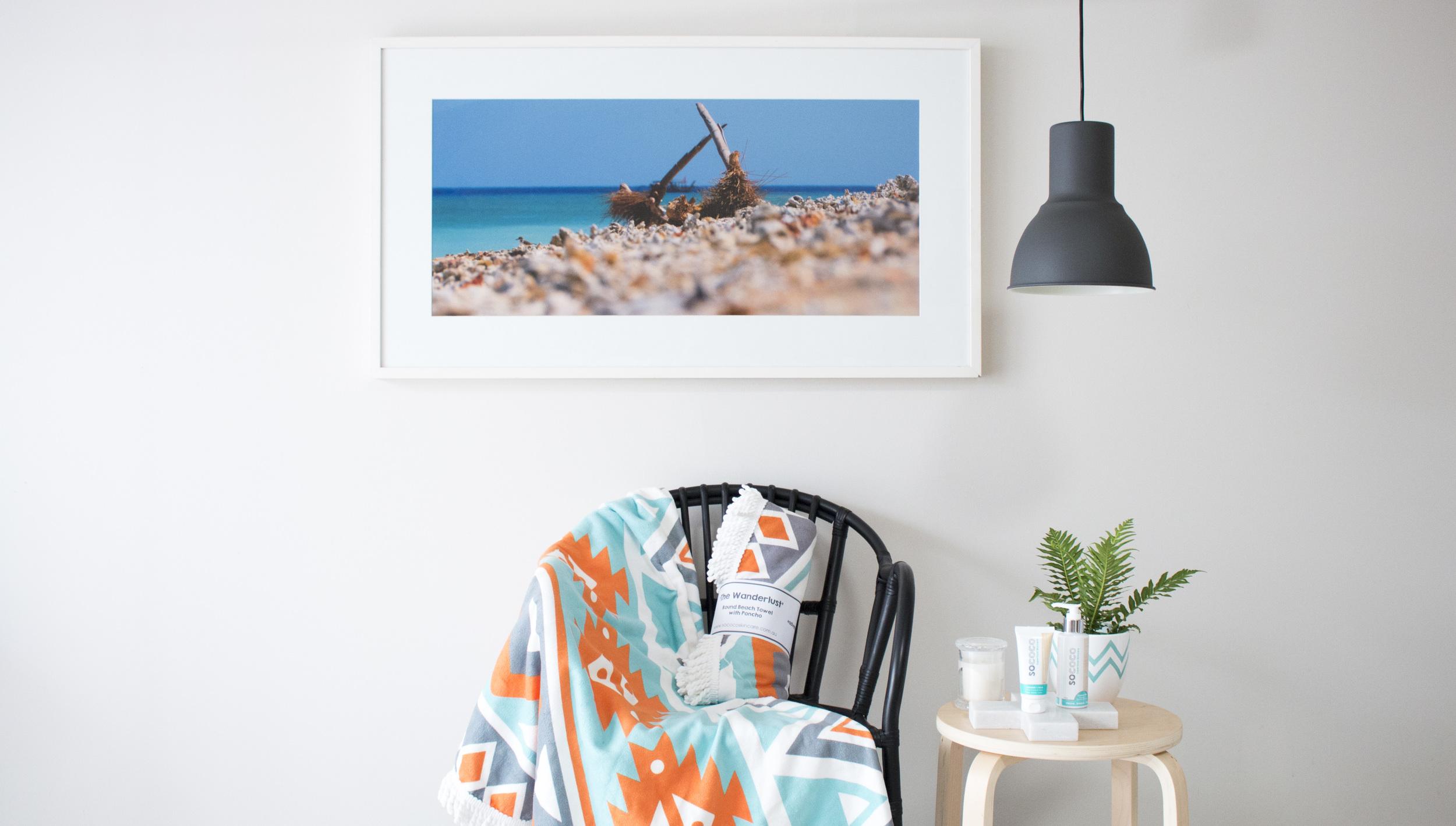 Product Photography & Styling    Roundie Towel & Skincare -  Sococo Skincare  Artwork - Tony Scott Photography