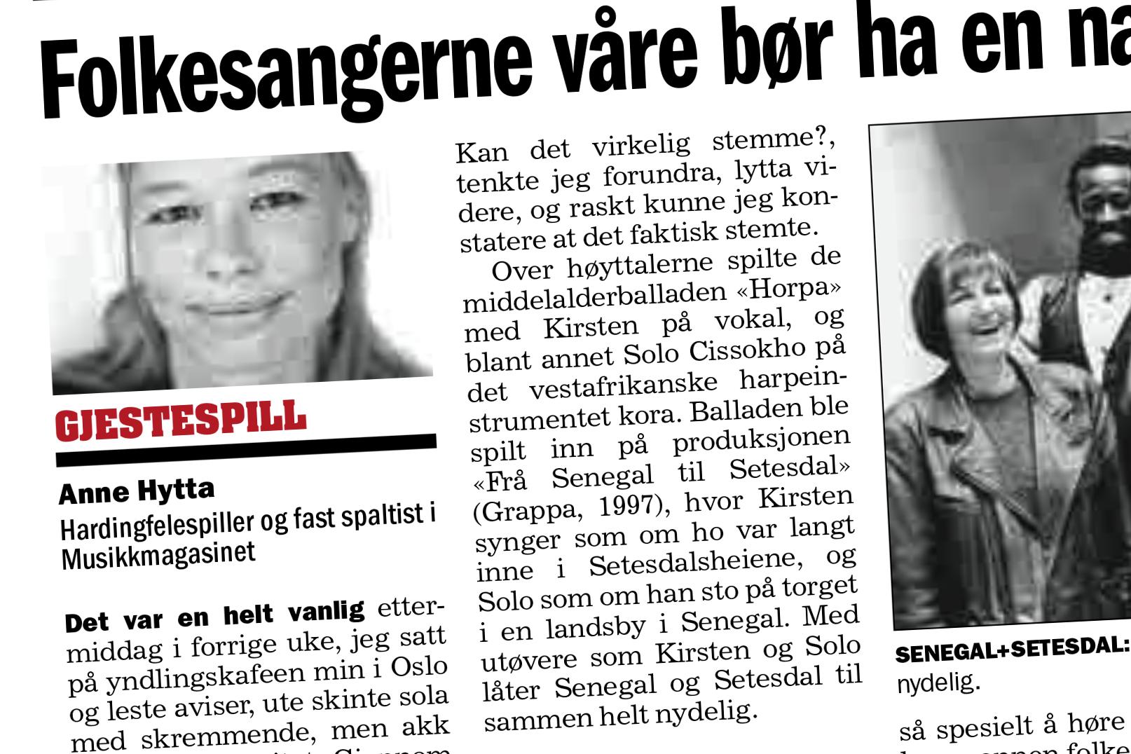 Faksimile frå Klassekampen 5. mai 2014.
