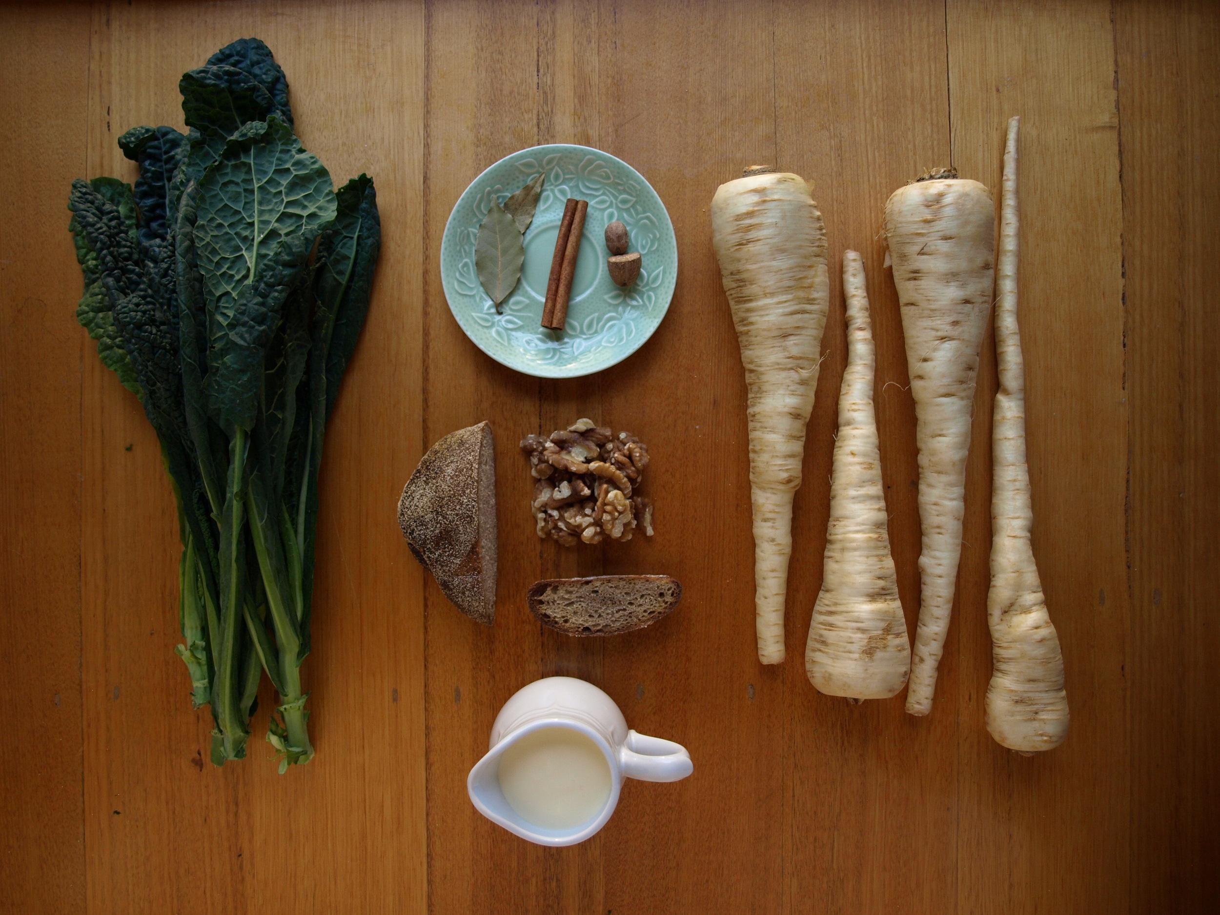 parsnip and kale gratin ingredients