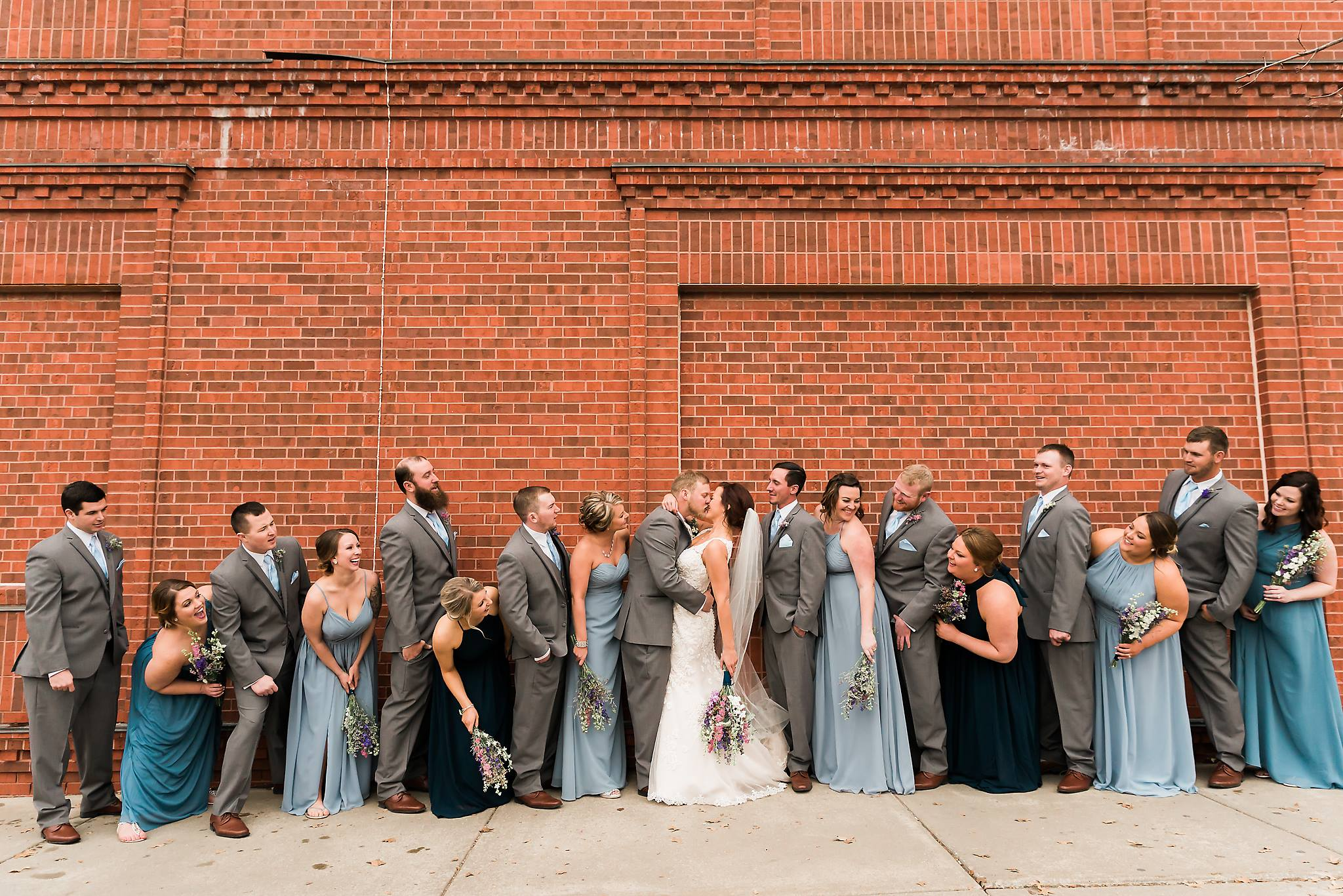 Wedding party photos on Mass st.