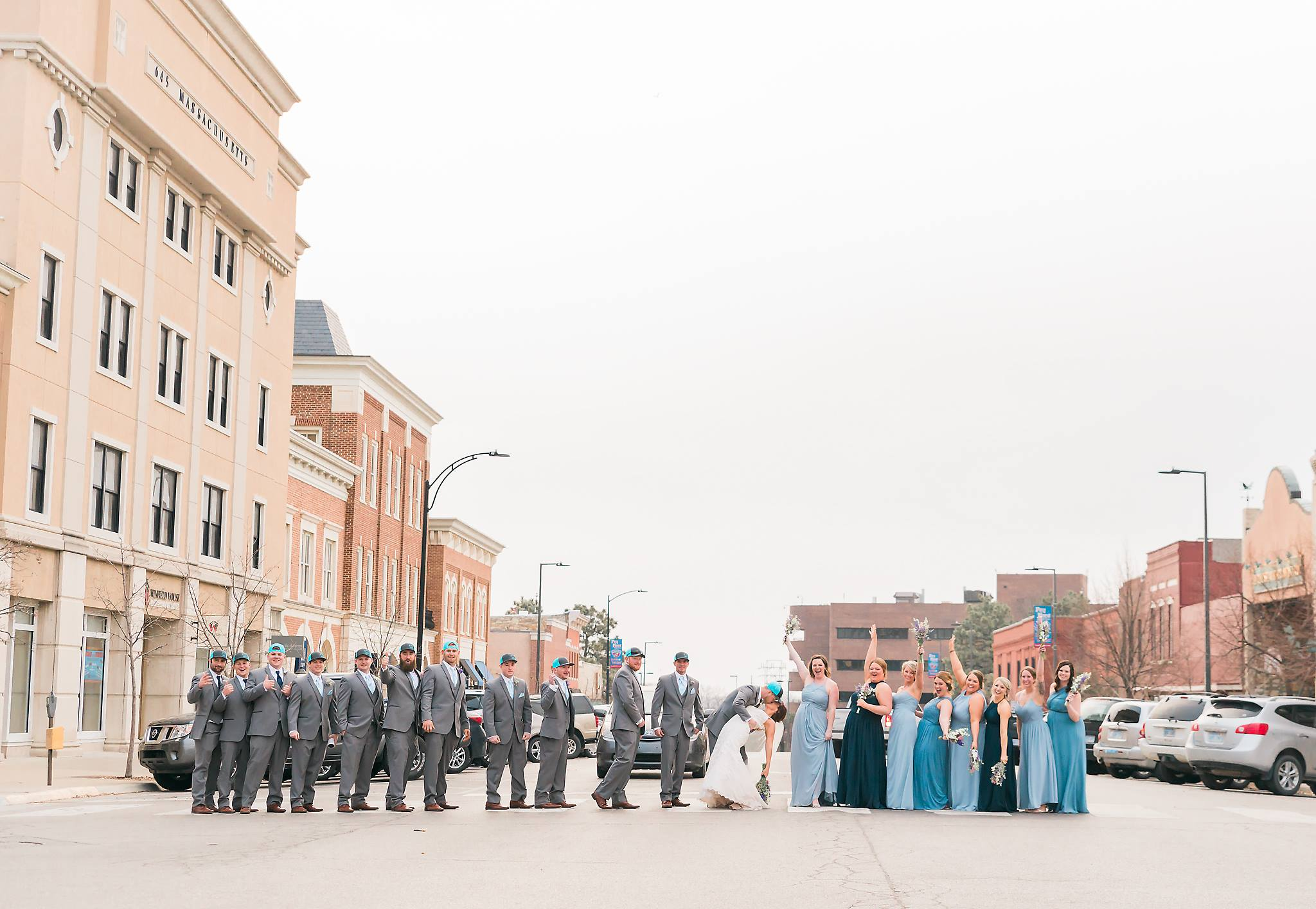 wedding party photos in the street