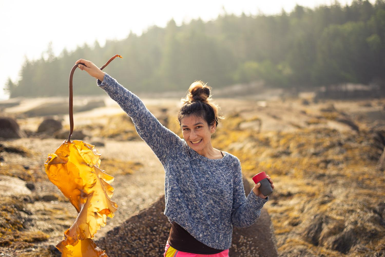 Joanna with Sugar Kelp on Buckle Island ( photo by Torrey Utne )