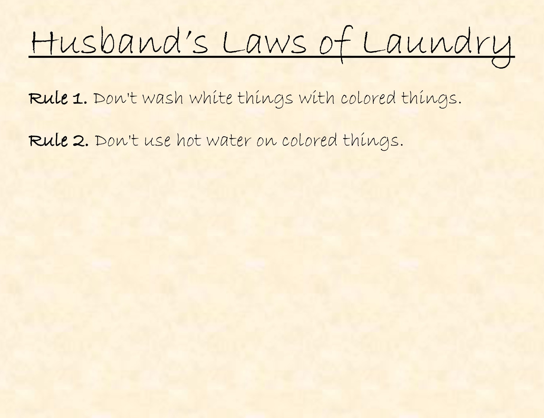 Husband's Laws of Laundry