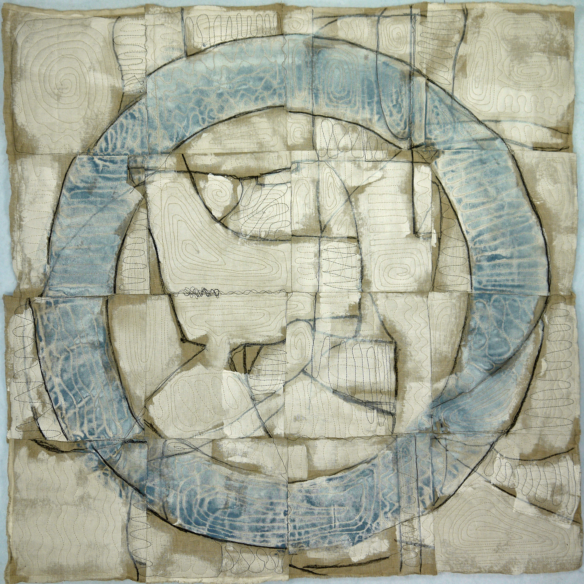 "Joshua Willis, ""Blue Circle,"" Mixed Media, 40""x 40"""