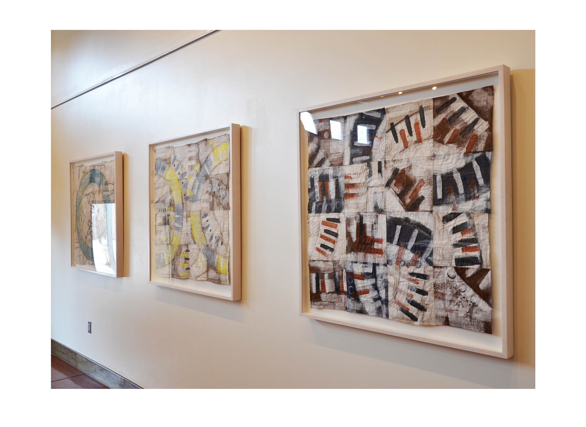 "J. Willis, ""Broken Circles (Triptych)"", Linen, Acrylic, Archival Frame, 40""x40"" each, 2015"