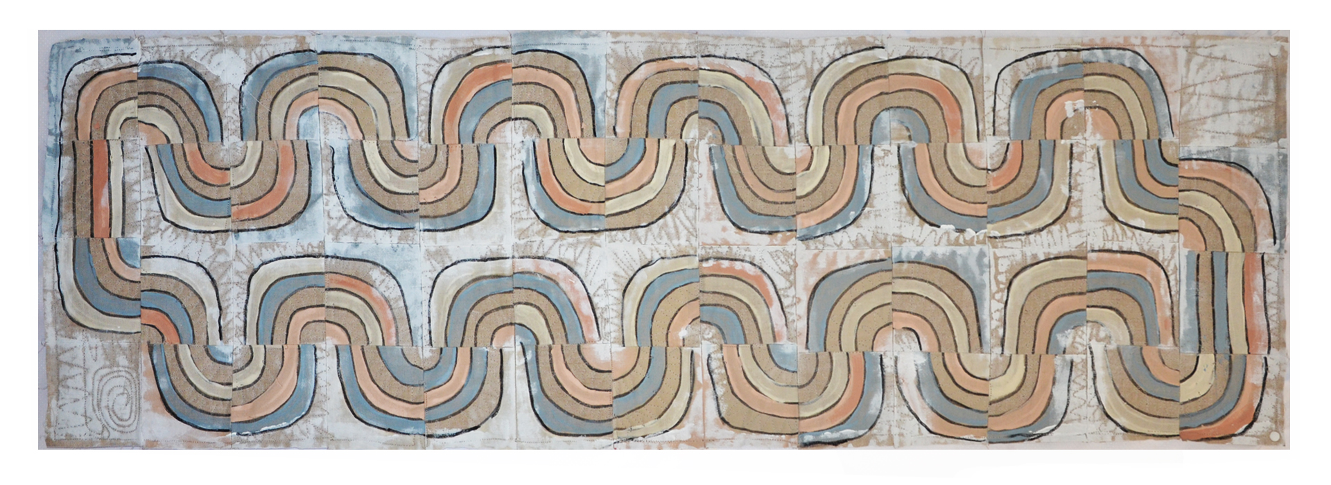 """J. Willis, """"Water Cycle,"""" Primed Raw Linen, Acrylic, 24""""x 78"""",  2016"""