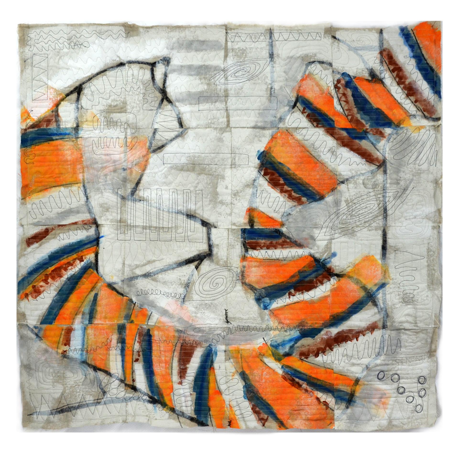 "J. Willis, ""Sound Canyon,"" Primed Raw Linen, Acrylic, 40""x 40"", Bernalillo County Public Art Collection 2015"