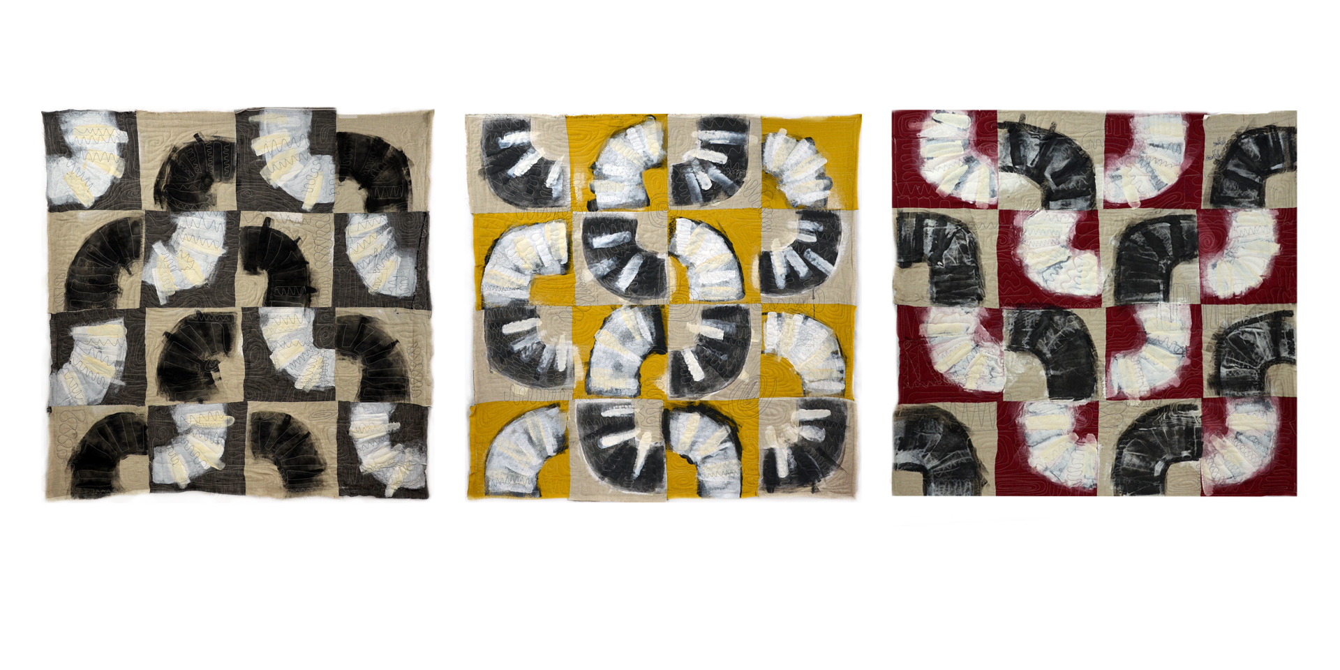 "J. Willis, ""Quarter Turns,"" Primed Raw Linen, Acrylic, 40"" x 125"",  2015"