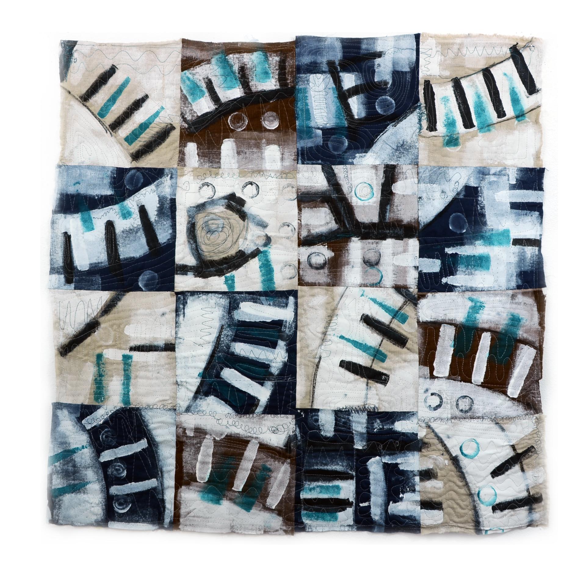 "J. Willis, ""Broken Cirlces (Green),"" Primed Raw Linen, Acrylic, 40""x 40"",  2015"