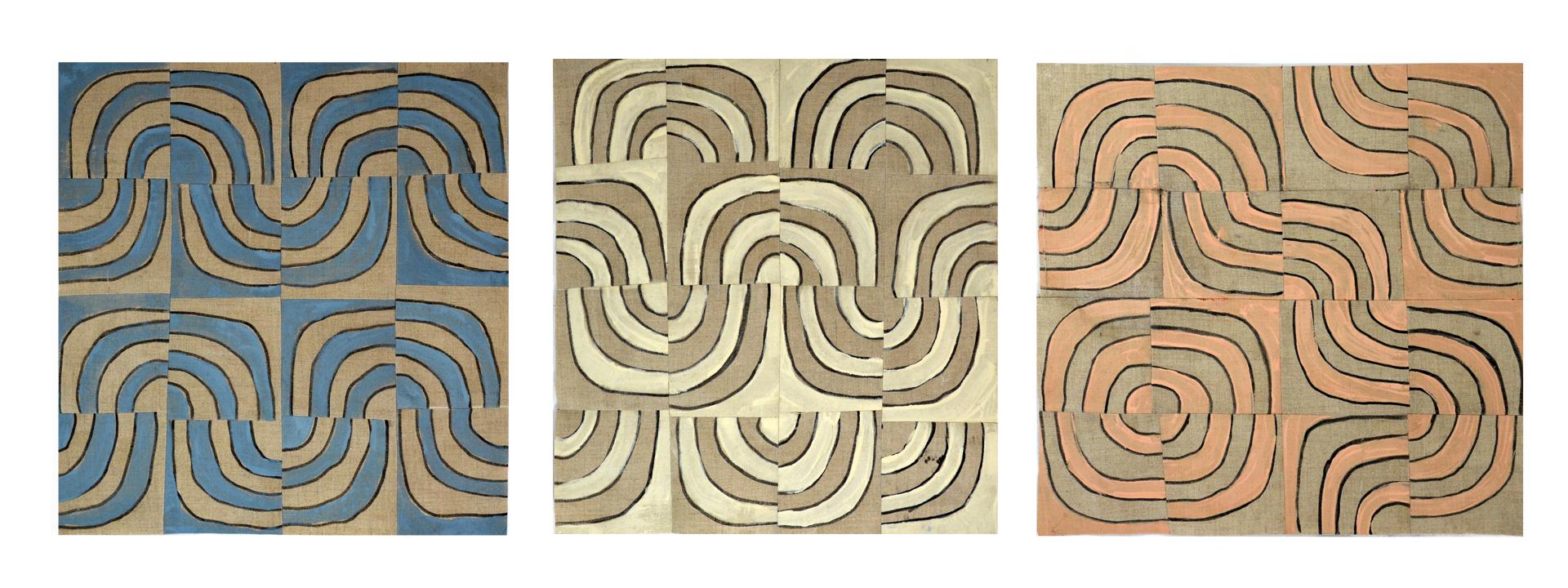 "Willis, ""Quarter Turns"", Primed Raw Linen, Acrylic, 16""x 48"", 2016"