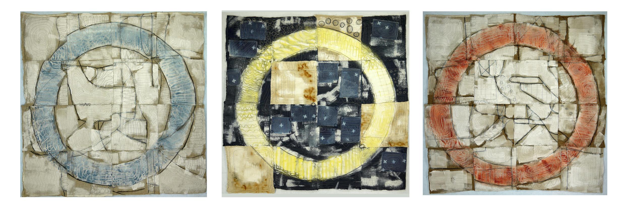 "J. Willis, ""Primary Circles,"" Primed Raw Linen, Acrylic, 40""x 125"",  2015"