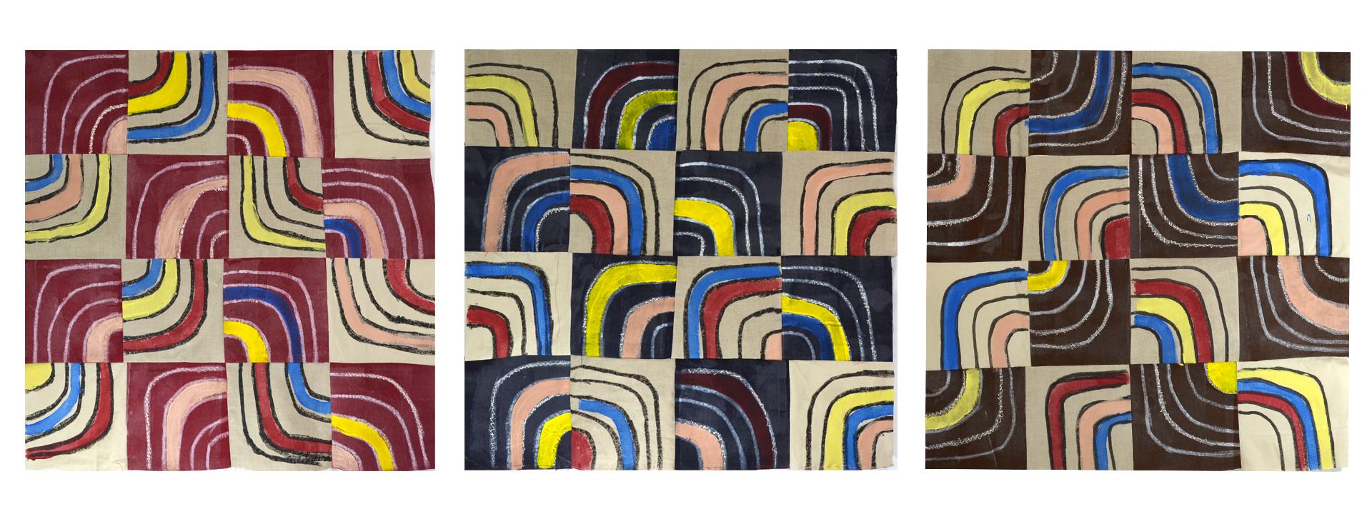 "J. Willis, ""Quarter Turns,"" Primed Raw Linen, Acrylic, 40""x 125"",  2016"