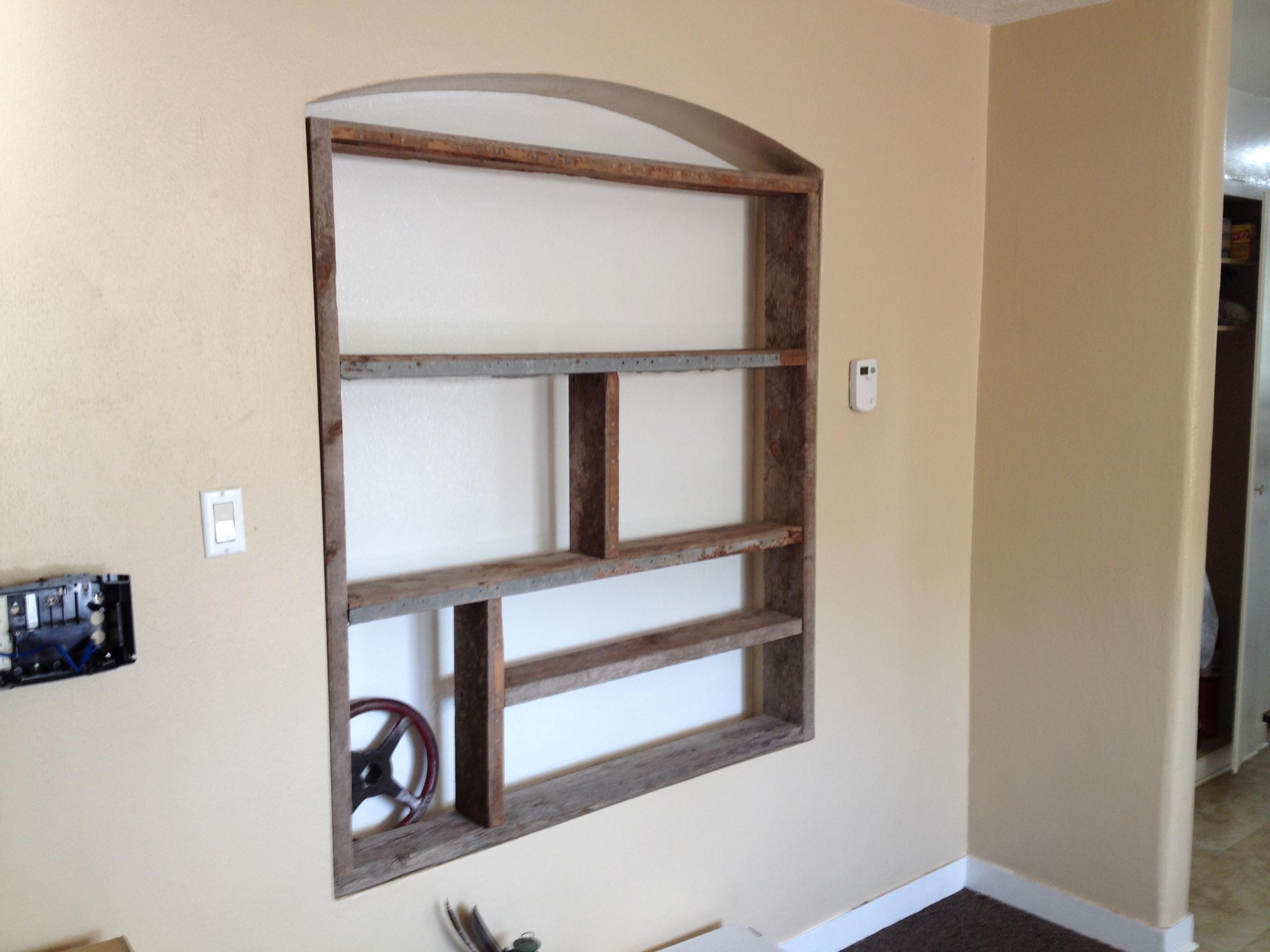 Bookshelf made of reclaimed barnwood