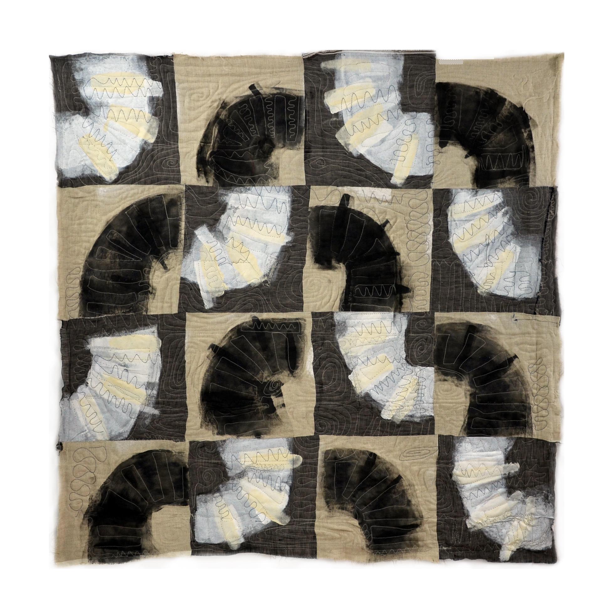"Willis, Joshua, ""Adaptation Blanket,"" Linen, Acrylic, 40""x 40"",  2015"