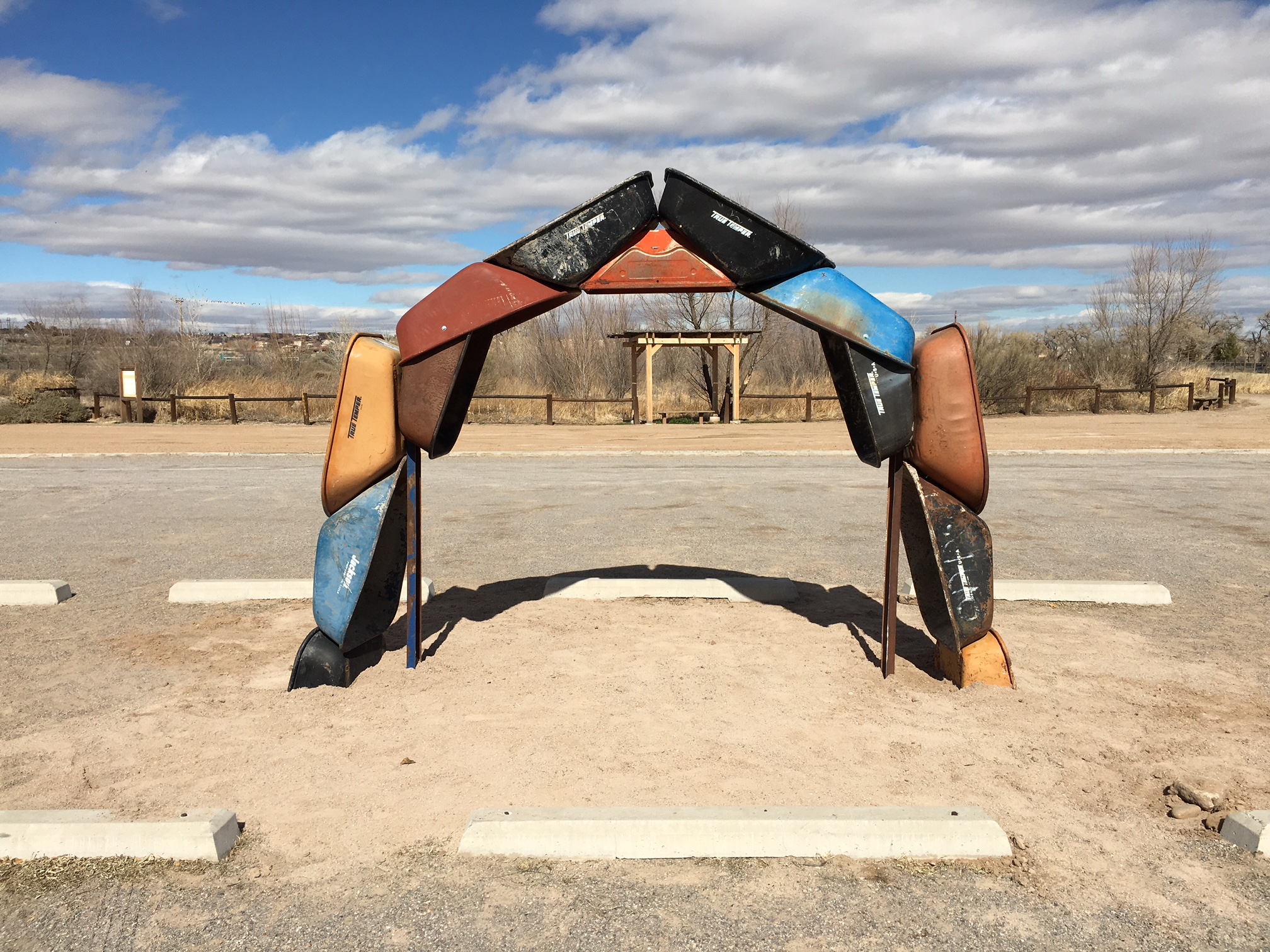 "Joshua Willis, ""Archbarrow,"" a Land Art work, Steel, Image taken at the City of Albuquerque Open Space Visitor Center, 2017"