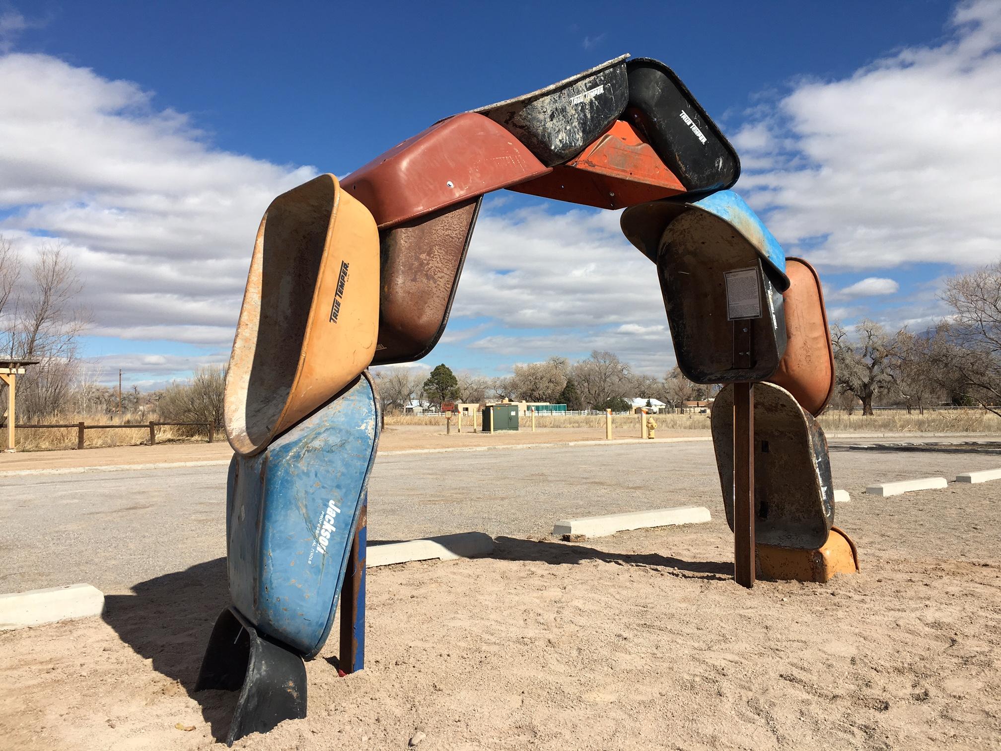"Joshua Willis, ""Archbarrow,"" A Land Art Work, Steel, Photograph taken at the City of Albuquerque Open Space Visitor Center, 2017"