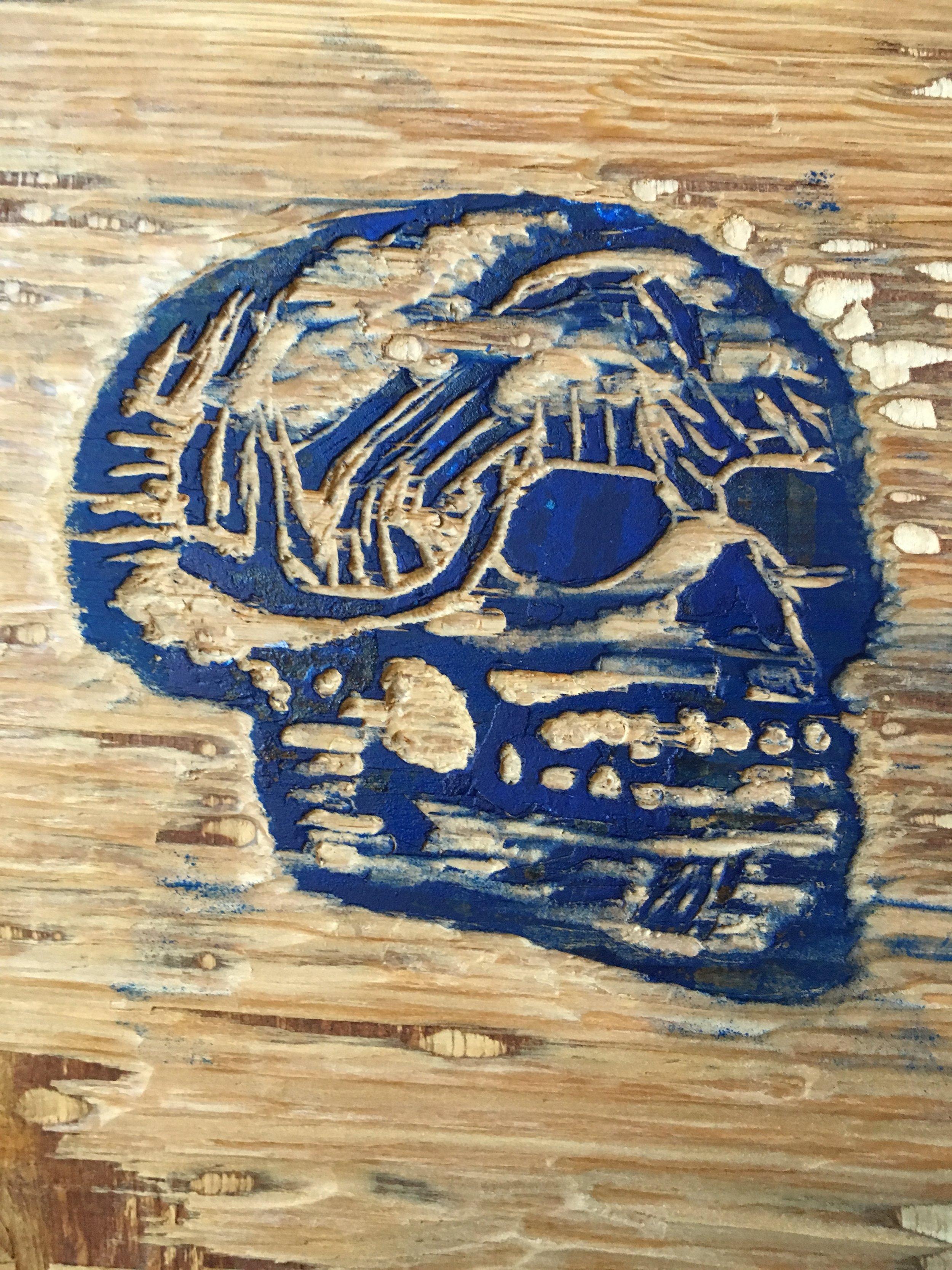 "Willis, Joshua, ""Woodcut Skull,"" Plywood, Acrylic, 2017"
