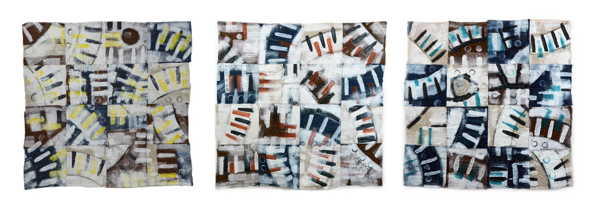 "Willis, Joshua, ""Broken Circles (Triptych),"" Linen, Acrylic, 40"" x 12"", 2016"