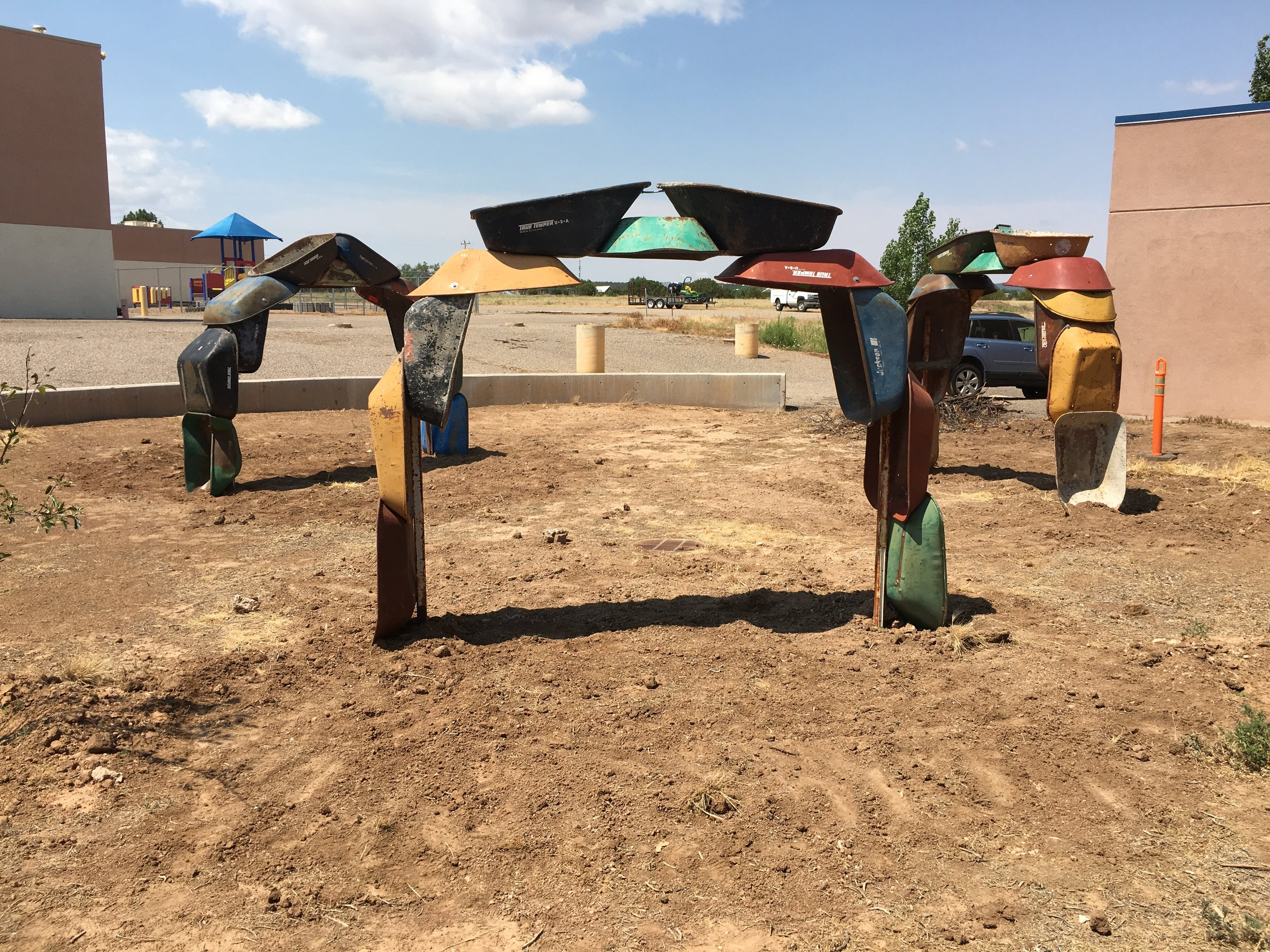 """Willis, Joshua, """"Barrowhenge,"""" Commissioned by NM Arts, Part of T.I.M.E. (Temporary Installation Made for the Environment), Edgewood Public Library, 2017"""