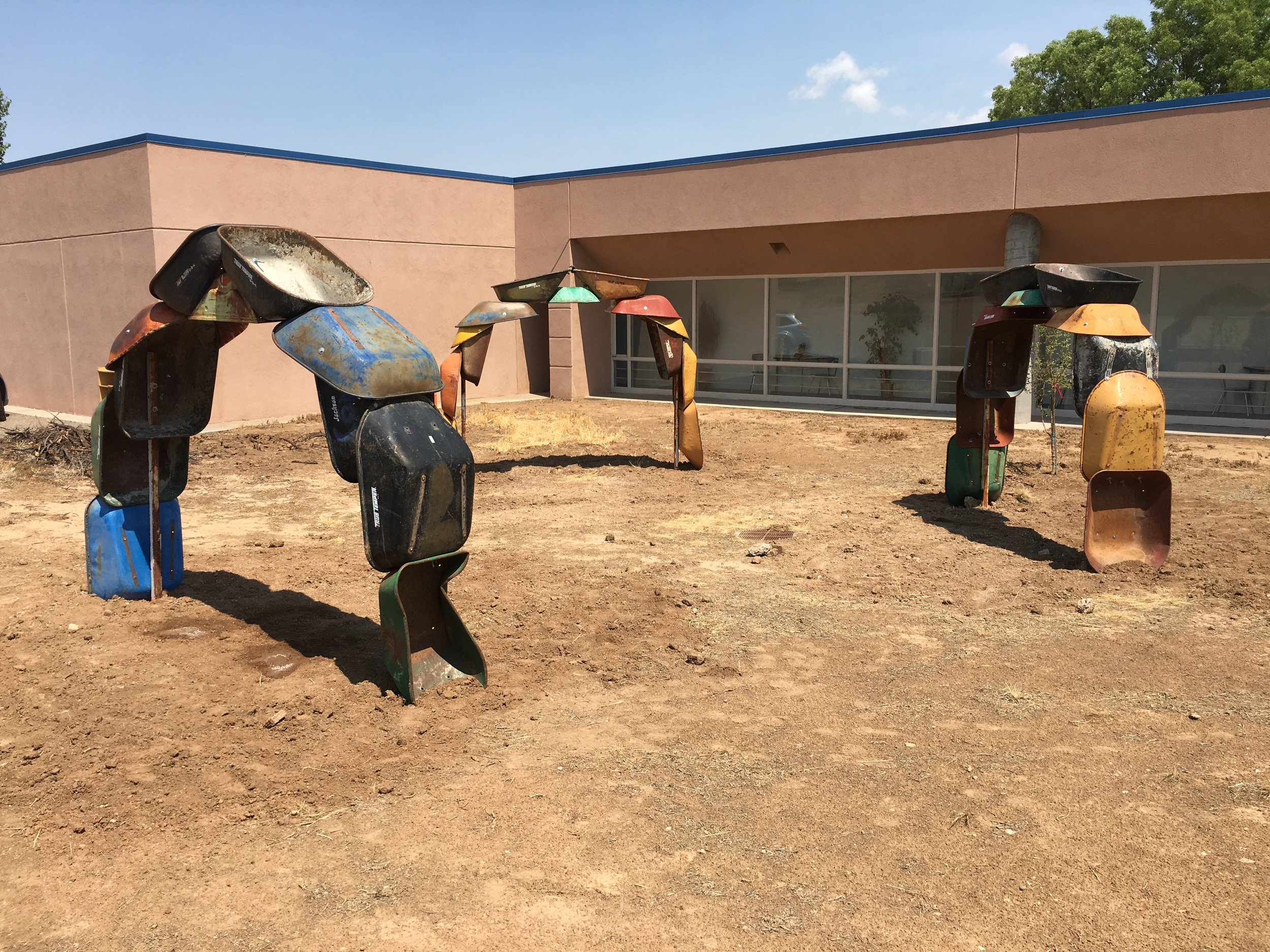 """Willis, Joshua, """"Barrowhenge,"""" Commissioned by NM Arts, Part of T.I.M.E (Temporary Installation Made for the Environment), Edgewood Public Library, 2017"""