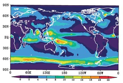 Annual averaged flux of Meteoric Particles to Earth's surface (predicted) (University of Leeds)