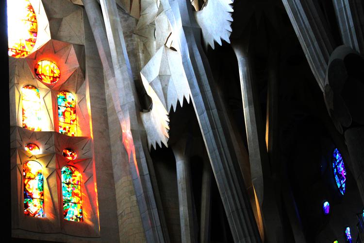 A stained glass window inside of  La Sagrada Familia .