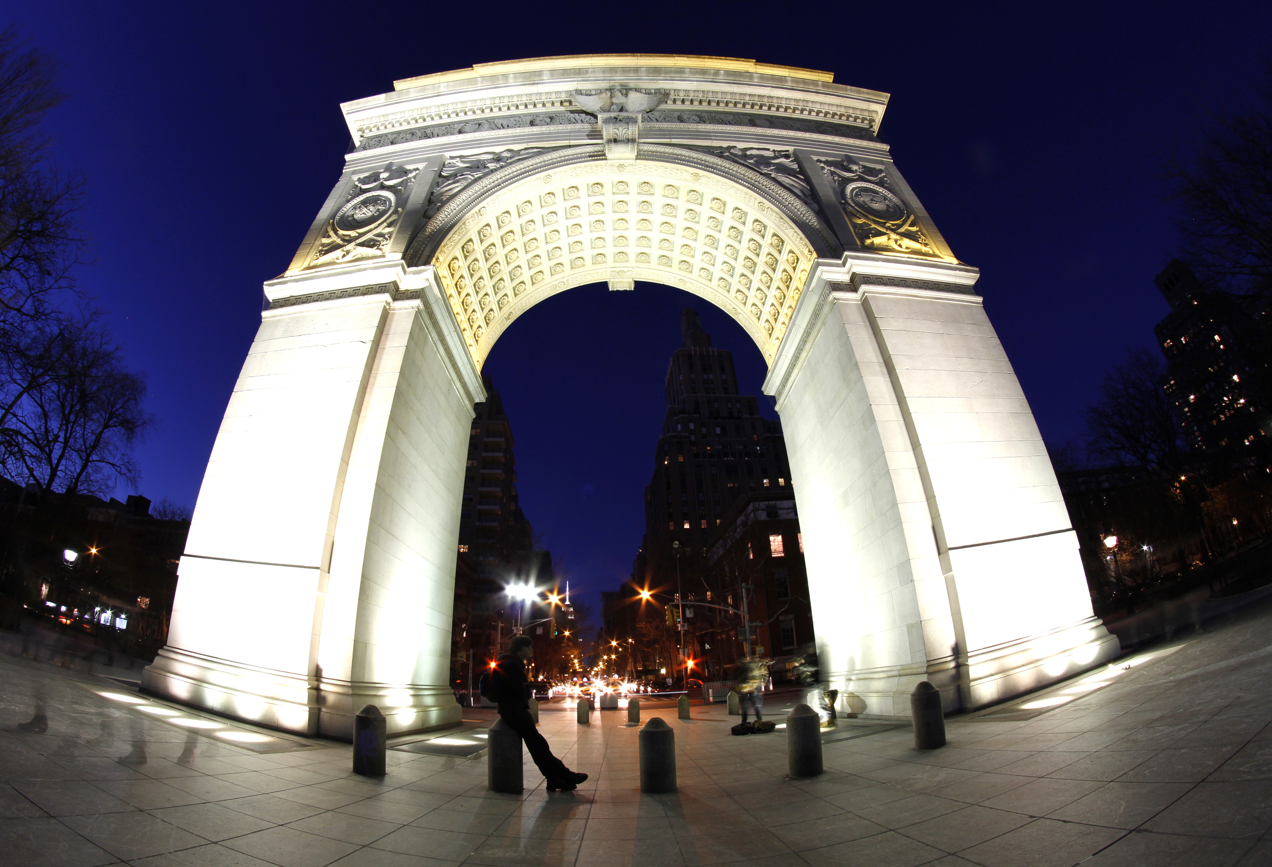 Washington Arch.  The starbursts of light are cars and stoplights on 5th Ave.