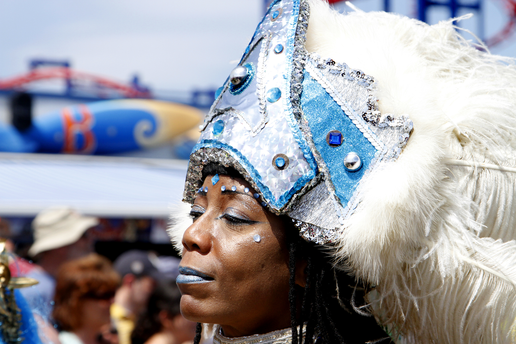 It takes confidence and incredible neck strength to pull of that headdress.