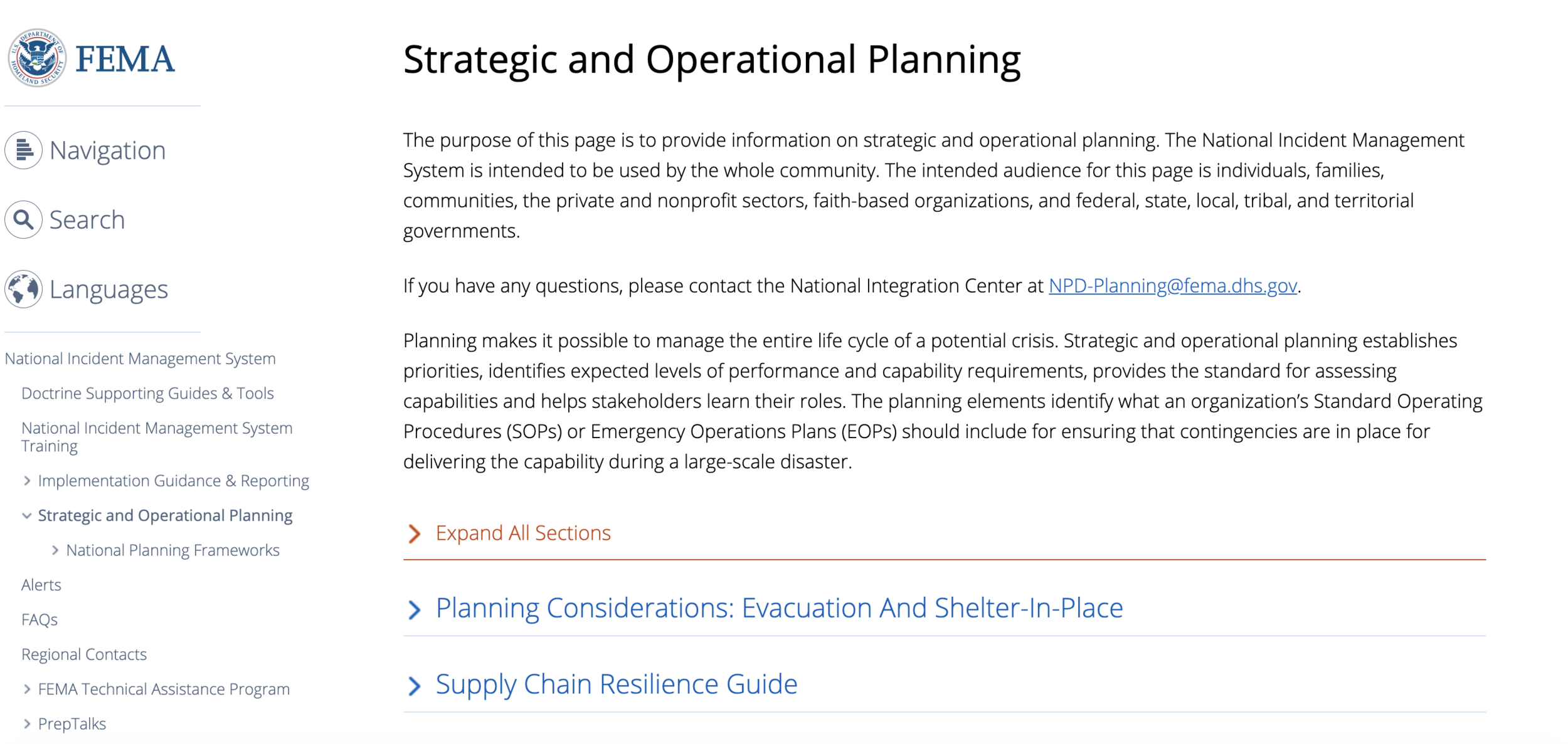 FEMA Strategic & Operational Planning Guide