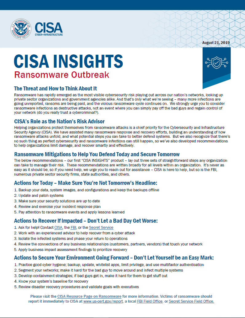 Ransomware Outbreak- CISA resources