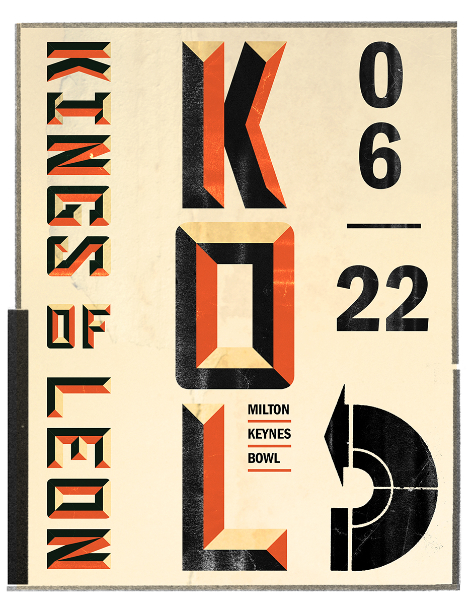 Rejected Poster for Kings of Leon at Milton Keynes Bowl, however, they used the custom lettering.